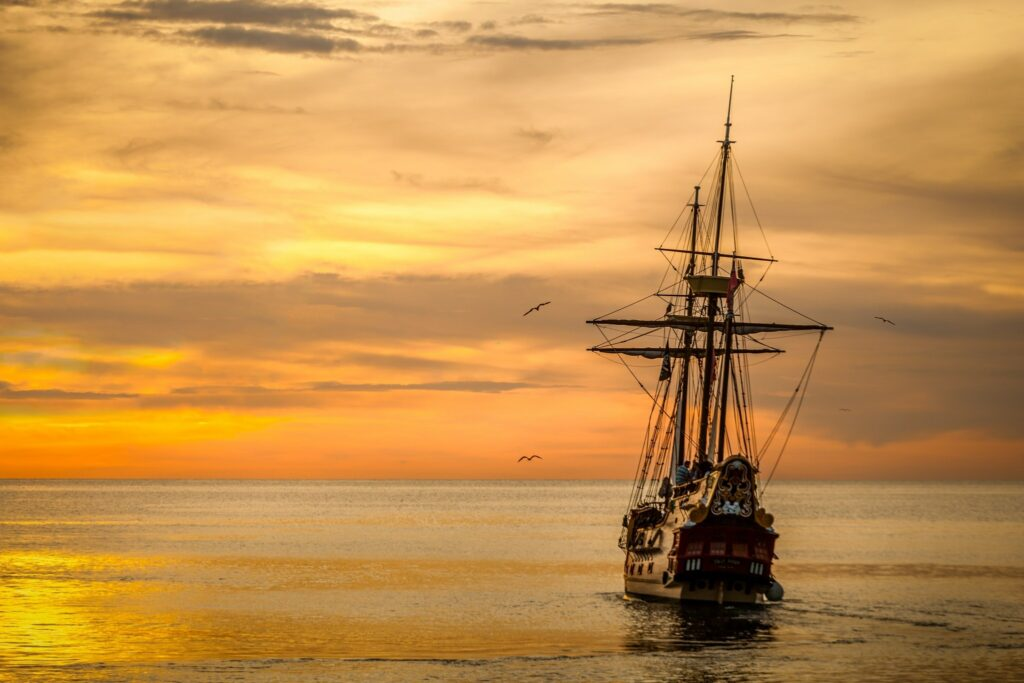 old ship sailing ocean